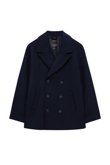 Navy blue double-breasted coat