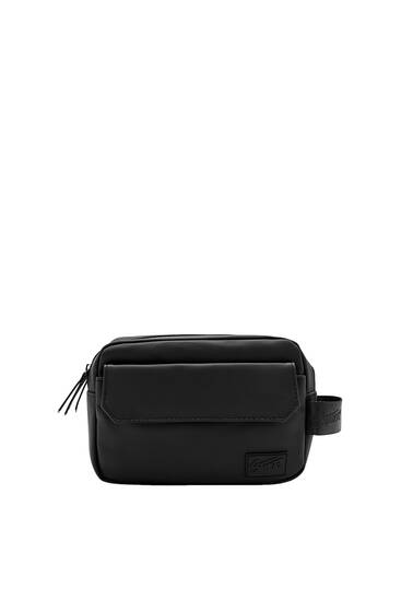 Black faux leather toiletry bag