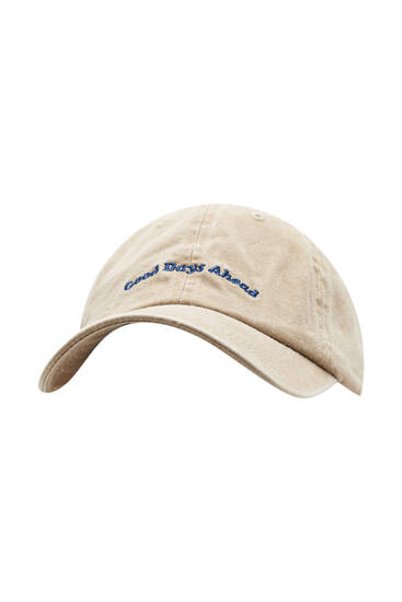 Faded cap with slogan