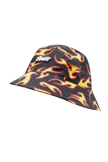 Flame print bucket hat