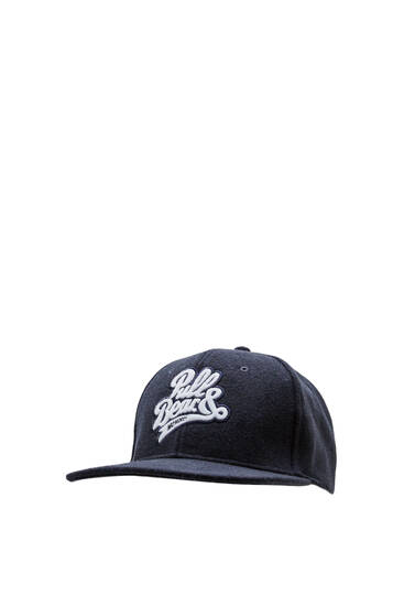 Blue cap with embroidered logo