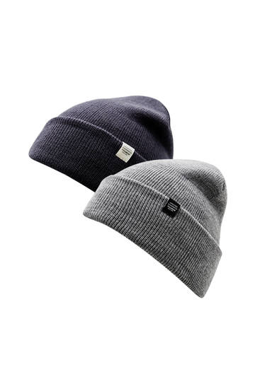 Pack of 2 blue and grey knit hats