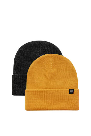 Pack of 2 grey and yellow knit hats