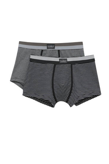 Lot 2boxers gris rayures