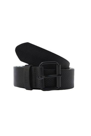 Faux leather herringbone belt