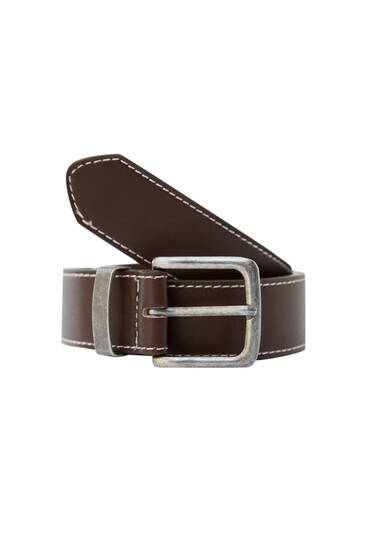 Faux leather belt with contrast seams