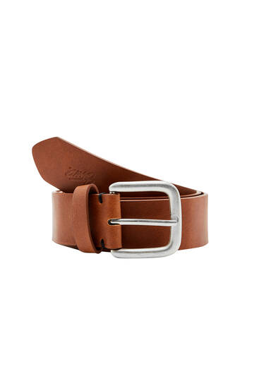 Brown faux leather STWD belt