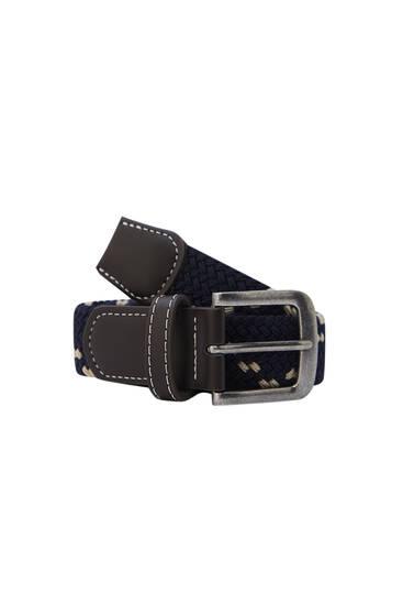 Cinturón tejido elástico hebilla metalizada
