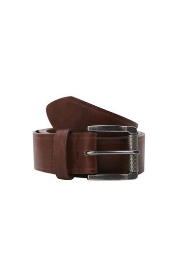Cinturón efecto piel marrón