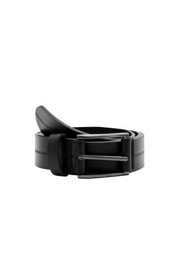 Black faux leather belt with stripe