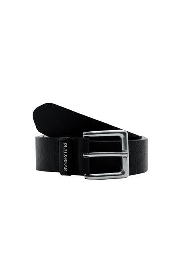 Black faux leather belt with logo