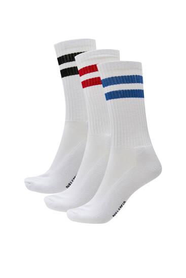 Σετ με 3 ζεύγη αθλητικές κάλτσες με ρίγες σε αντίθεση