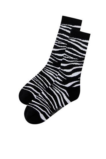 Zebra print long socks