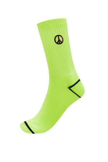 Neon peace socks