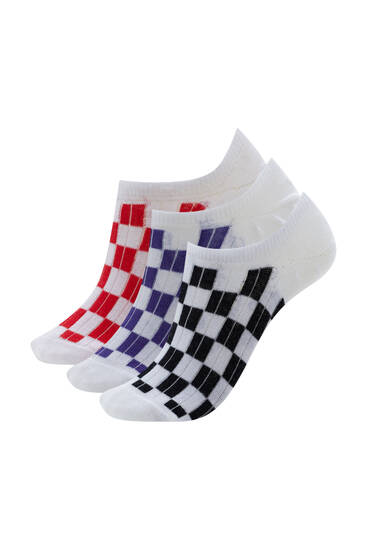 Pack of checked no-show socks