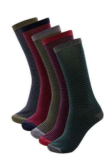 Σετ 5 ζεύγη ριγέ χρωματιστές κάλτσες