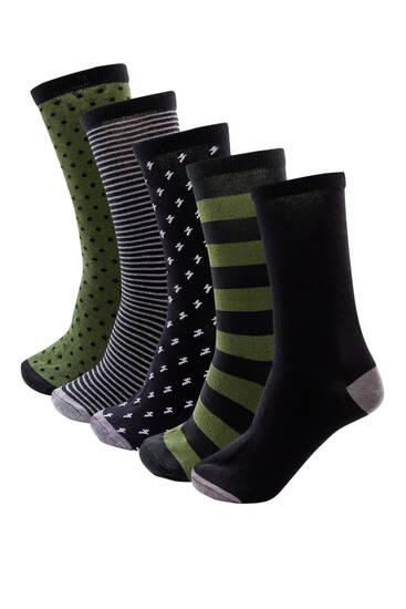Σετ με 5 ζεύγη χακί κάλτσες