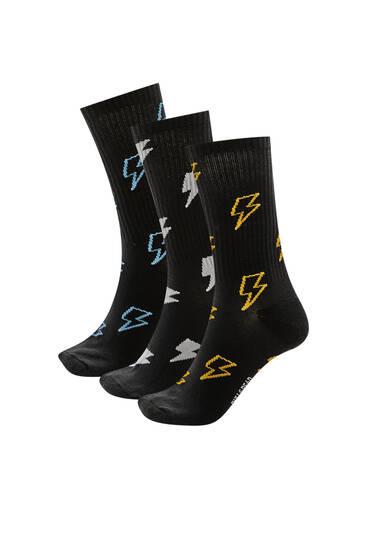 Σετ με 3 ζεύγη αθλητικές κάλτσες με κεραυνούς
