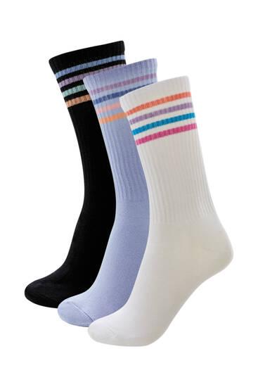 Σετ με 3 ζεύγη αθλητικές κάλτσες με πολύχρωμες ρίγες