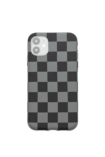 Funda smartphone cuadros dameros grises