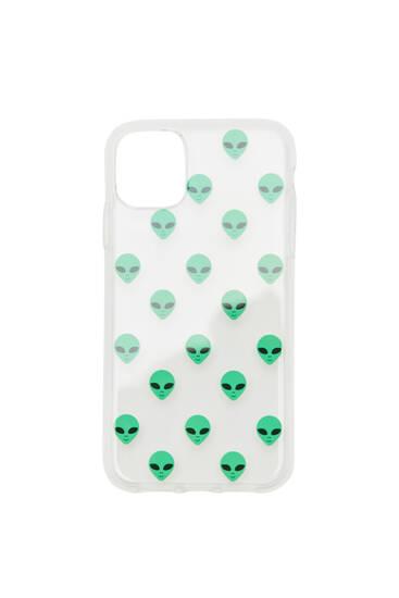 Transparent smartphone case with alien print