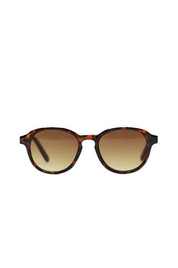 Round tortoiseshell resin sunglasses