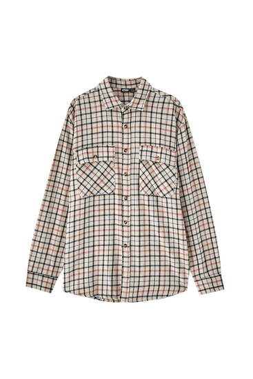 Beige shirt with contrast checks