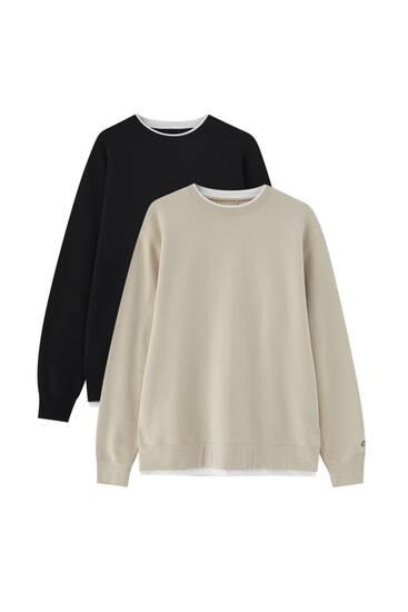 Pack of 2 basic round neck sweatshirts