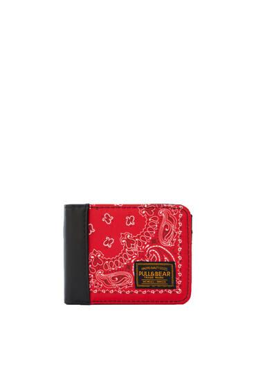 Portefeuille rouge imprimé cachemire