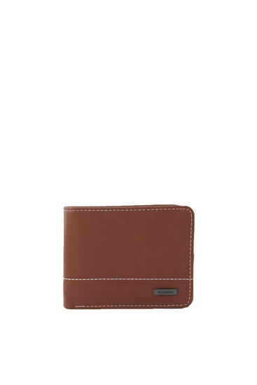 Faux leather wallet with seams and logo