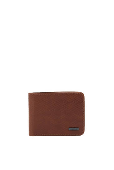 Brown faux leather wallet with detail