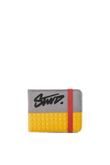 Contrast yellow wallet with elastic fastening