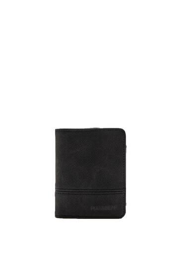 Portefeuille noir en similicuir color block