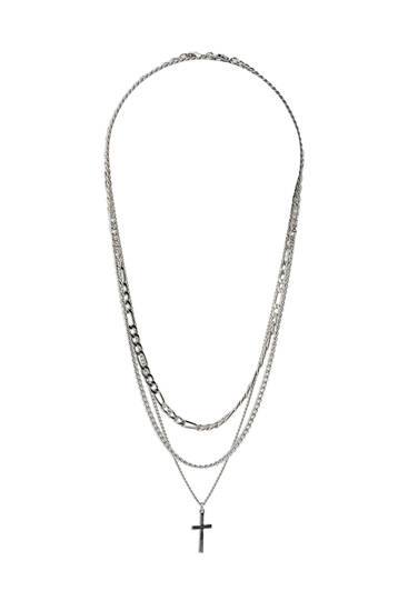 3-pack of silver-toned necklaces with cross pendant