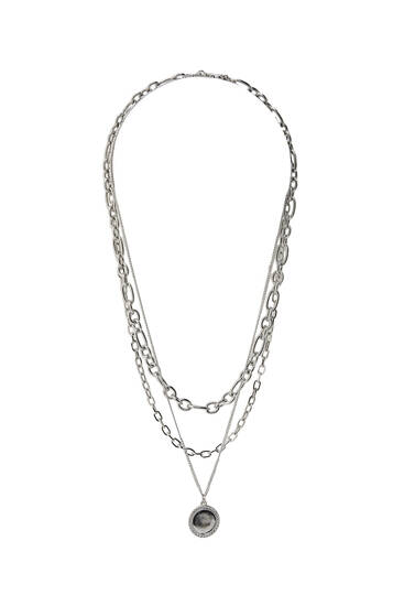 3-pack of silver-toned necklaces with medallion pendant
