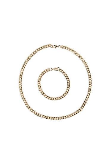 Pack of gold-toned bracelet and necklace