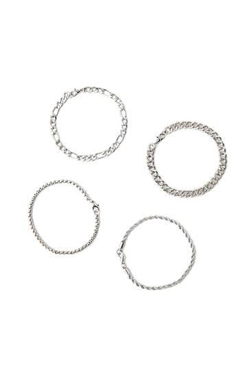 Pack of 4 silver-toned bracelets