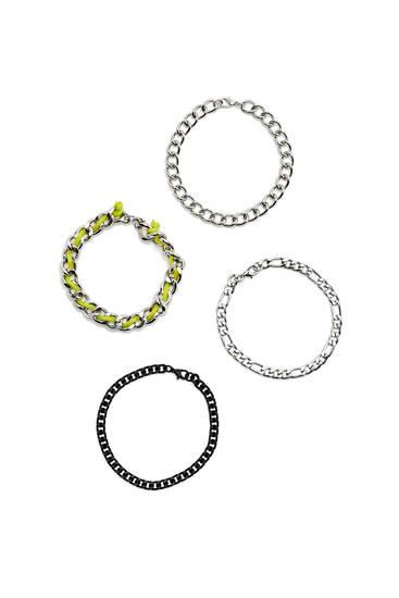 Lot quatre bracelets chaîne