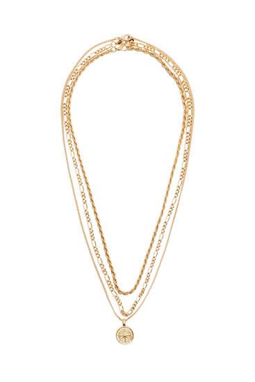 Pack de colares dourados com medalha