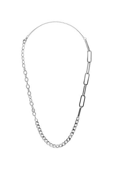 Collar plateado cadenas combinadas