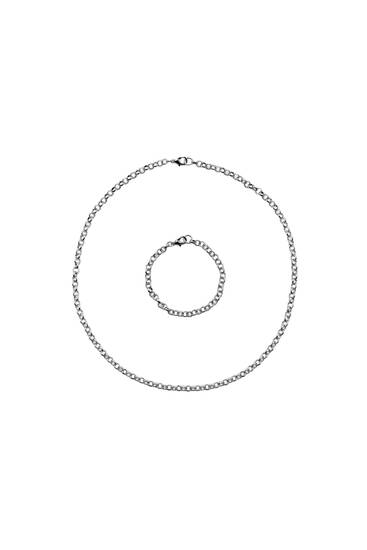 Pack of silver-toned chain necklaces