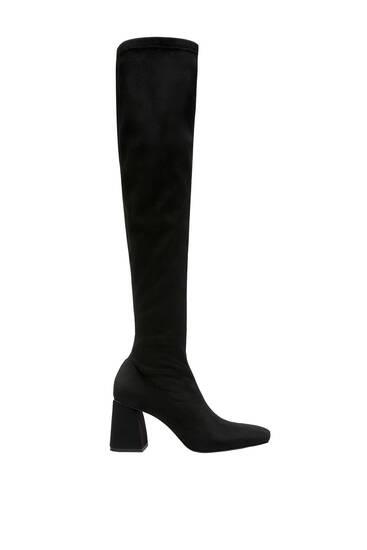 Stretch high-heeled boots