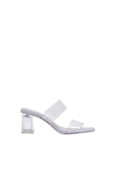 Vinyl heeled sandals