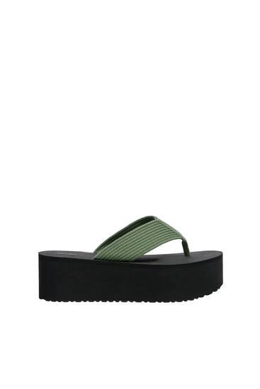 Platform sandals with strap detail