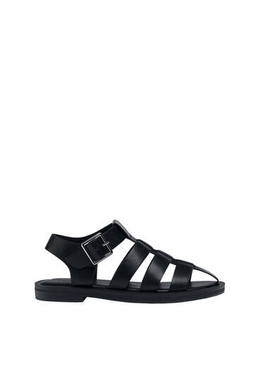 Flat cage sandals