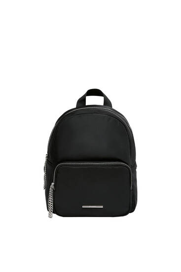 Nylon backpack with chain detail