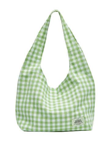 Green gingham tote bag