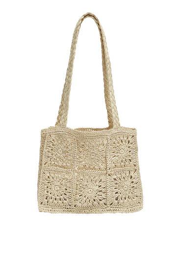 Floral woven paper bag