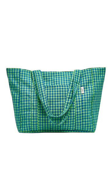 Checked tote bag