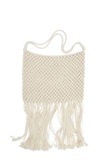 Crochet schoudertas met kwastjes